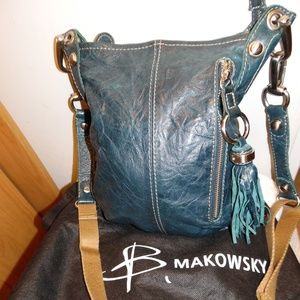 B. Makowsky Soft Crinkled Leather Tassel Crossbody